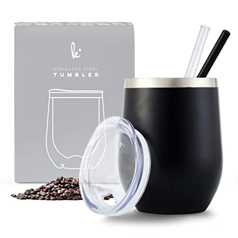 Amazon.com: Vino de acero inoxidable, vaso de café con tapa ...