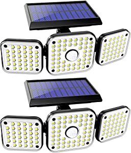 Solar Lights Outdoor with Motion Sensor, 3 Heads Security Lights Solar Powered, 112LED Flood Lights Motion Detected Spotlights 360° Rotatable IP65 Waterproof for Porch Garage Entryways Patio- 2PCS