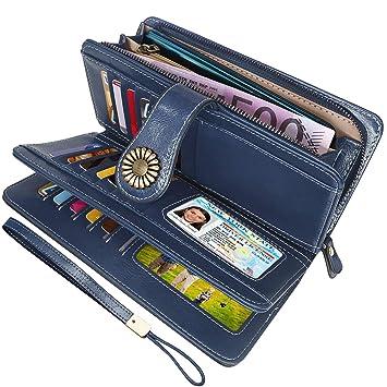973b81757 Cartera Cuero Mujer Bloqueo RFID Monedero Piel Mujer Grande con Muchos  Bolsillos, Billetera Larga Mujer