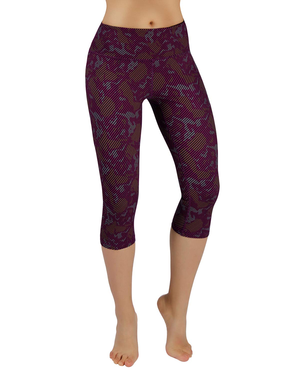 Printcapris926-camouflage Medium ODODOS High Waist Out Pocket Printed Yoga Capris Pants Tummy Control Workout Running 4 Way Stretch Yoga Capris Leggings
