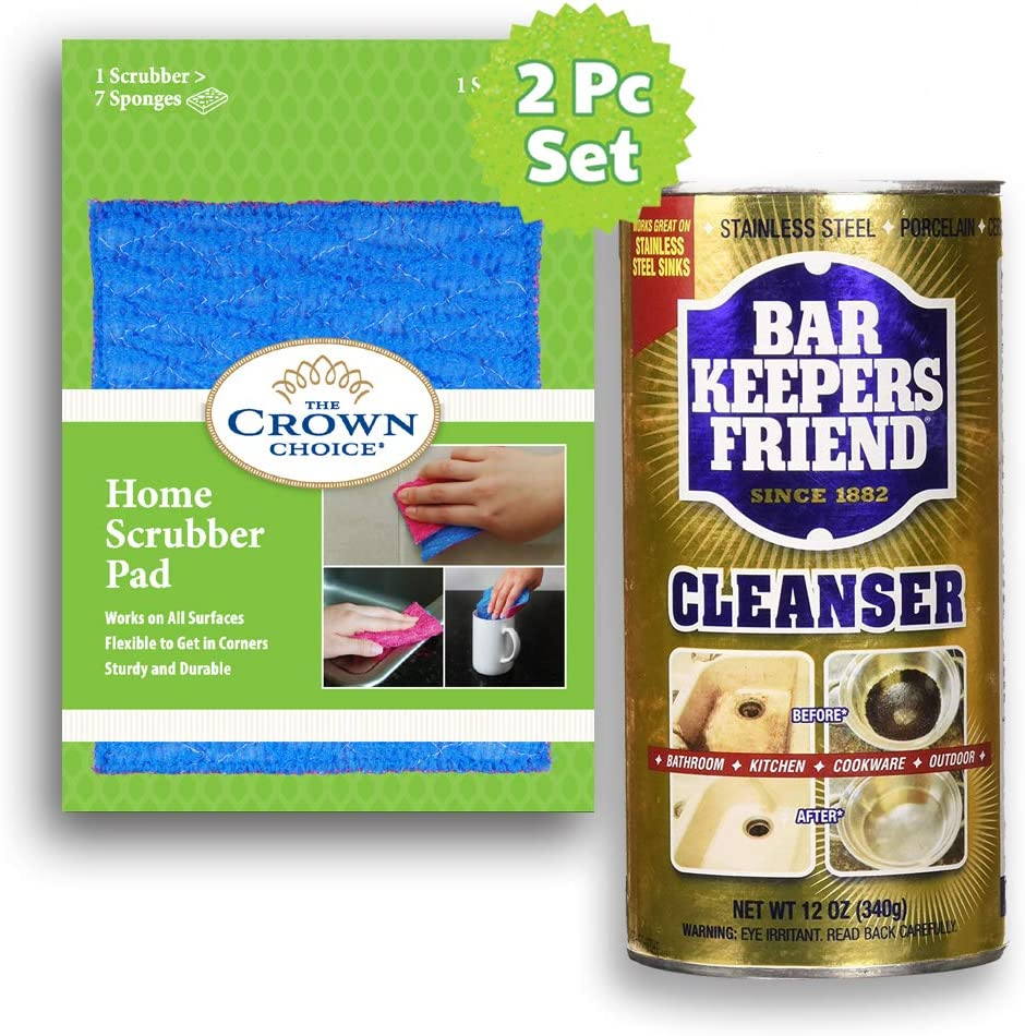 BKF Powdered Cleanser & No Smell, Non Scratch Dish Cloth 2PC set: Polish and Clean mud, grime, rust, stains All surfaces - Kitchen, Bathroom, Cookware, Outdoor