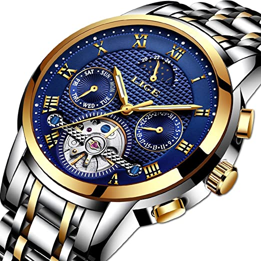 Relojes para Hombre, LIGE Automático Mecánico Reloj de Pulsera Acero Inoxidable Impermeable Moon Fase Gents Moda Casual Skeleton Tourbillon Reloj Oro Azul: ...