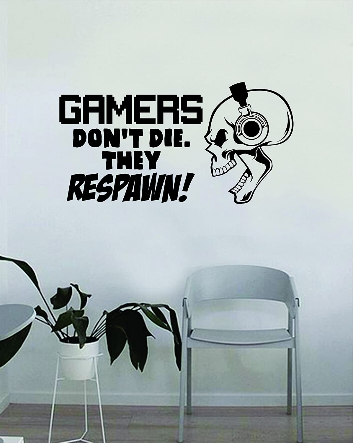 Gamers Dontt Die They Respawn Wall Decal Video Game Gifts Kids PS4 Xbox Gaming Quote Poster Stickers Boys Room Playroom 58 28cm