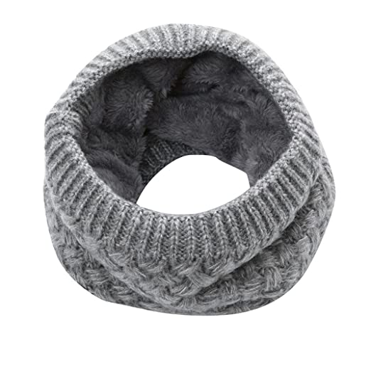 Scarf,Han Shi Fashion Man Women Warm Bufanda Knitted Collar Scarves Ring Wraps Neckpiece (L, Gray)