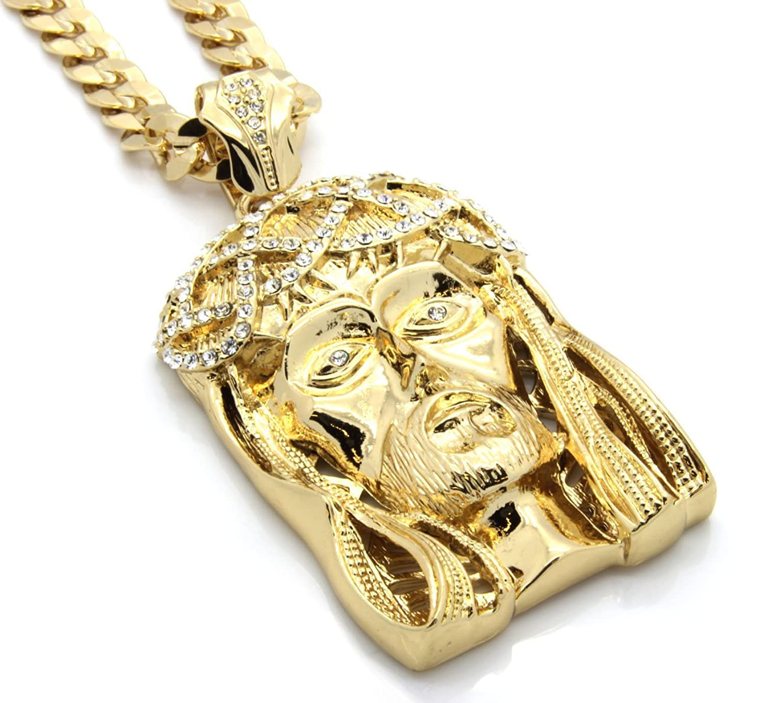 Mens gold tone large crowned jesus iced out pendant with 30 10mm mens gold tone large crowned jesus iced out pendant with 30 10mm cuban chain necklace amazon mozeypictures