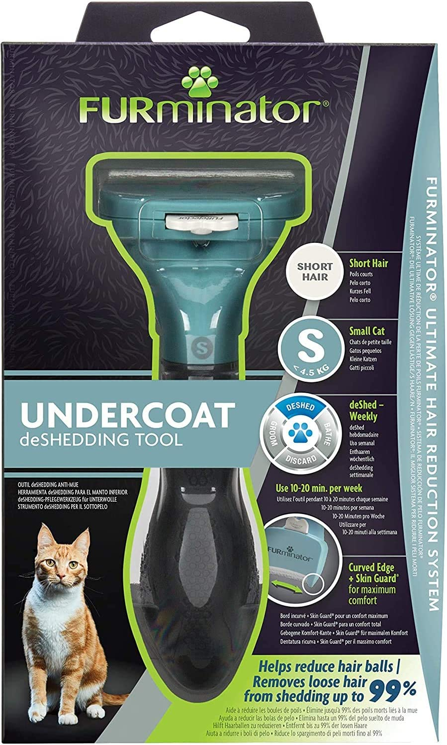 FURminator Undercoat deShedding Tool para gatos pequeños de pelo ...