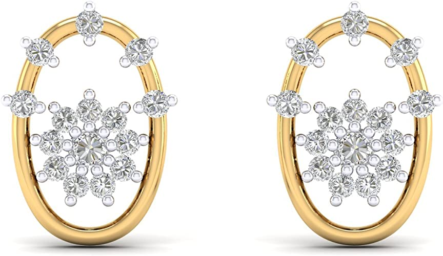 TVS-JEWELS Prong Setting Round Cut White CZ 14k Gold Plated Flower Shape Stud Earrings