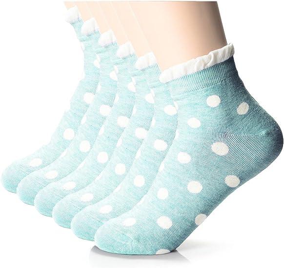 Polka Dot Socks Blue Black Dots 2 Sizes Ladies Crew Cotton Blend