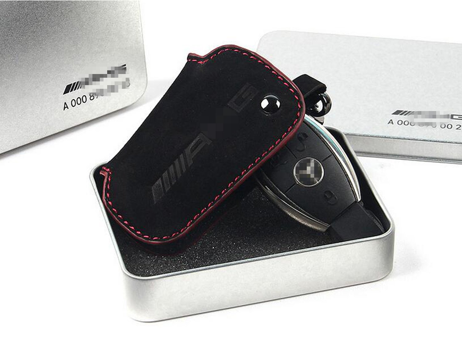 Genuine Premium Leather Key Fob Cover For Mercedes Benz Carbon fiber leather black line YIKA