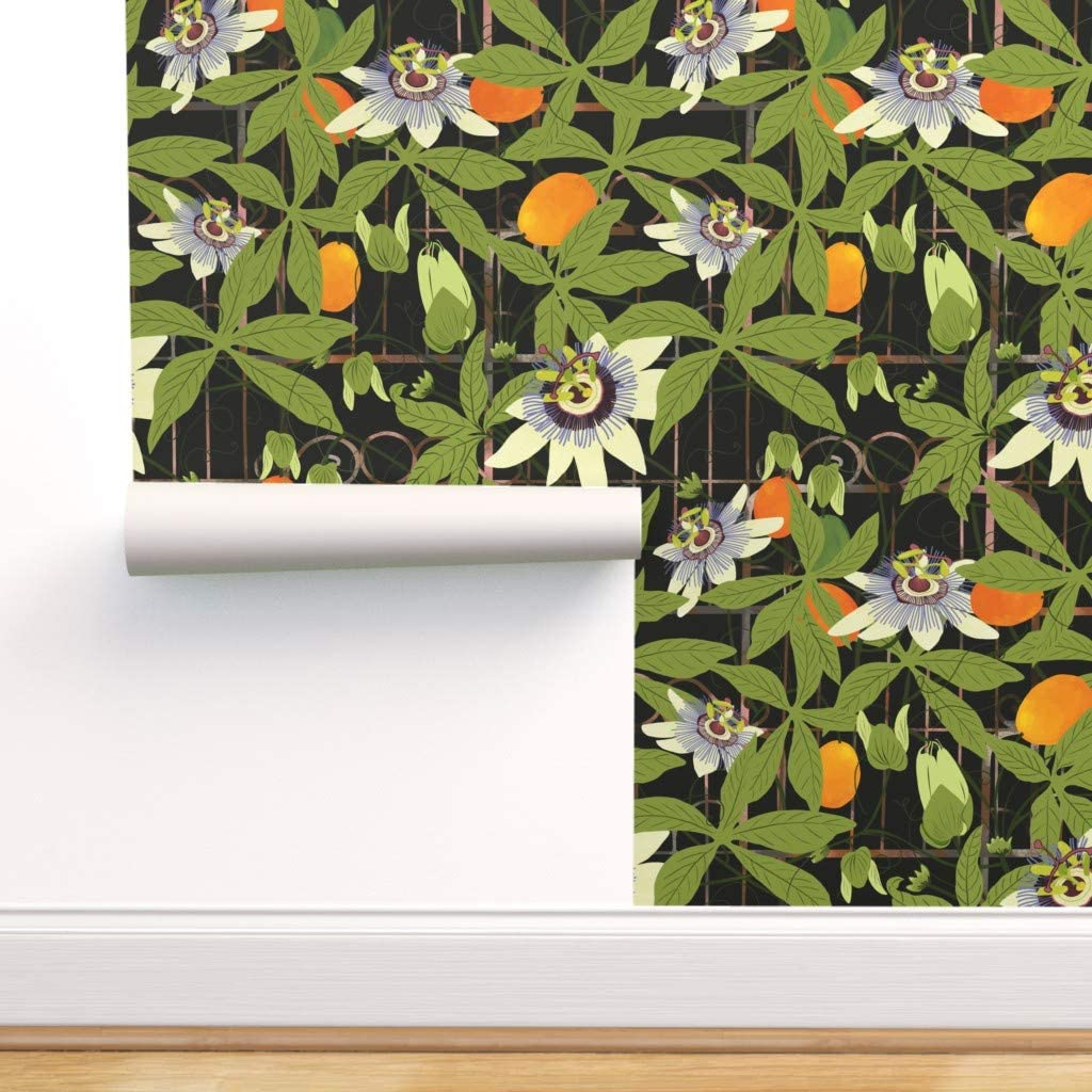 Spoonflower Peel and Stick Removable Wallpaper, Garden Trellis Orchard Greenery Gardens Floral Print, Self-Adhesive Wallpaper 24in x 108in Roll