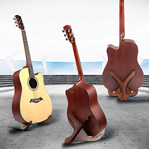 CAHAYA Guitar Stand Wooden X-Frame Style with Soft Leather Edges for Acoustic Classical Bass Guitars