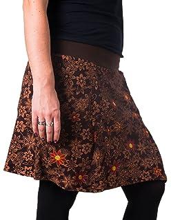 Vishes – Alternative Bekleidung – Warmer Herbst Winter Rock aus Baumwolle –  mit Blumen bestickt 1f1bc1921f