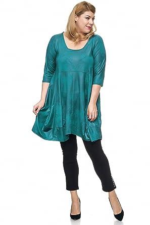 Magna Damen übergröße Ballondesign Tunika Kleid Lederoptik Mit
