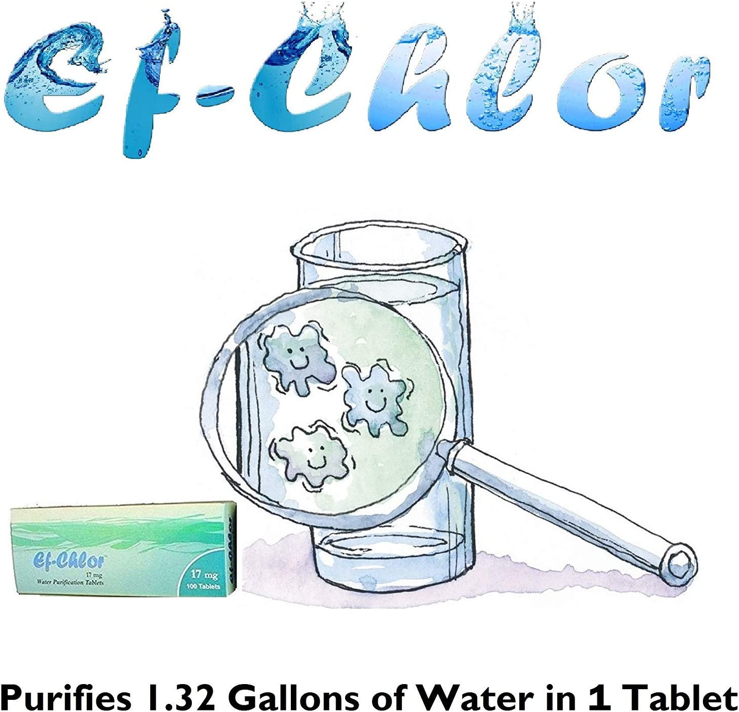 Ef-Chlor | Water Purification Treatment (17 mg - 100 Tablets) - Portable Drinking Water Treatment Ideal for Emergencies, Survival, Travel, and Camping, Purifies 1.32 Gallons in 1 Tablet