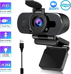 1080P Webcam with Microphone for Zoom Meeting Skype Live Stream, Computer Webcam for PC Laptop Desktop, USB Video Webcam with Privacy Cover, Windows Mac Android Chrome Linux Compatible