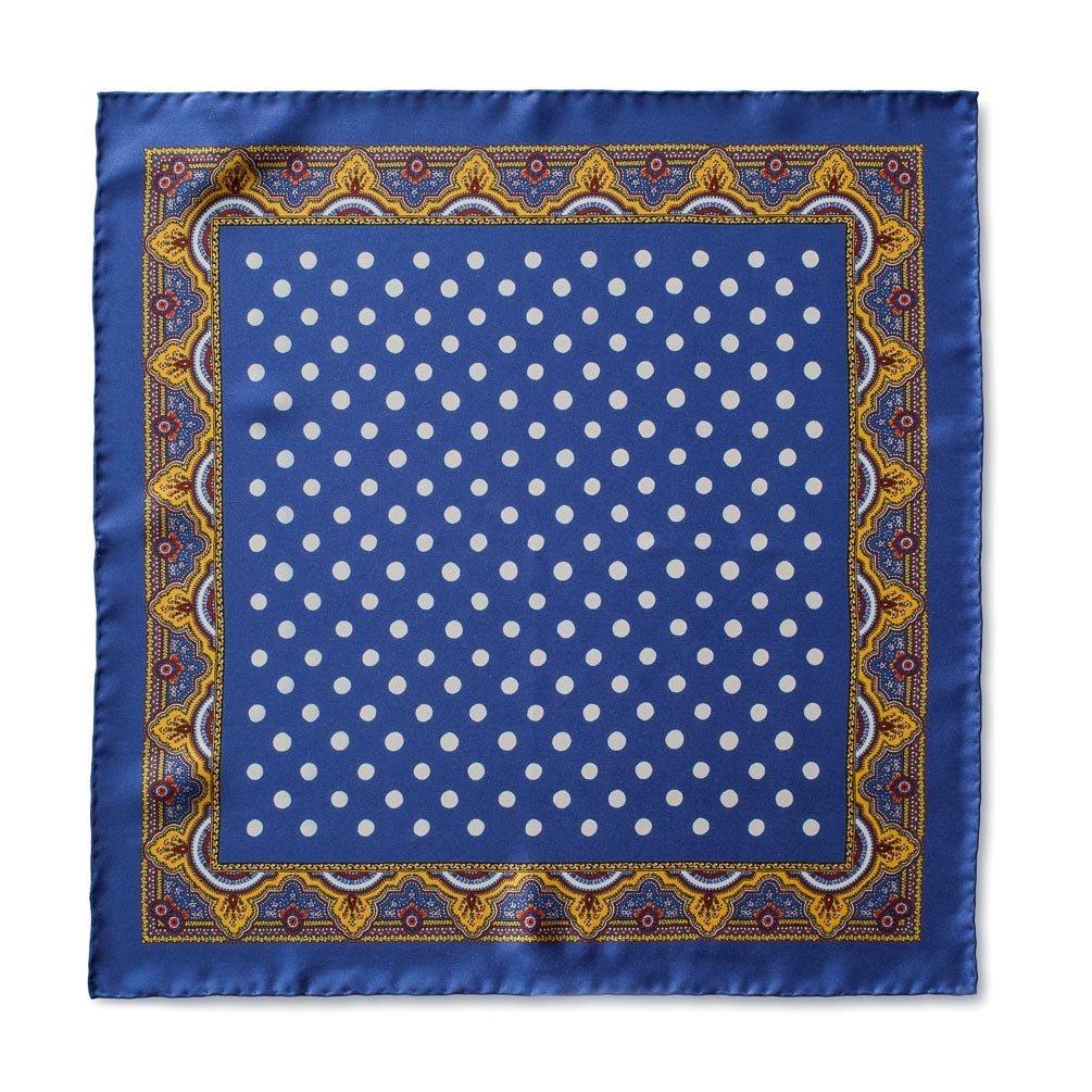 Caravaggio Italian Men's Silk Pocket Square - 16.5 Inches, Blue