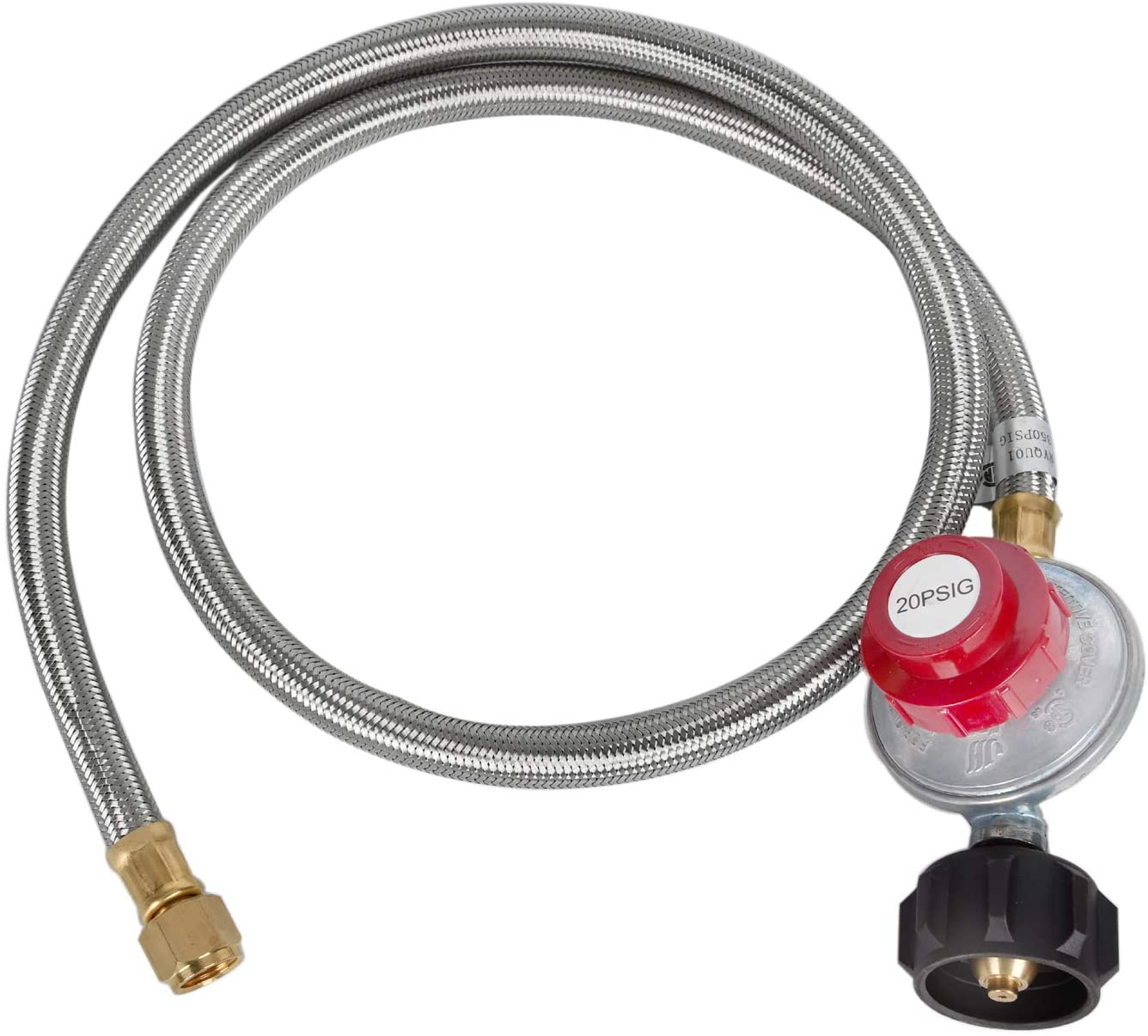GasSaf 5 Feet Stainless Steel Braided 20 PSI Adjustable Propane Regulator Hose with QCC-1/Type,Gas Grill LP Regulator for Burner, Turkey Fryer, Forge, Smoker and More.