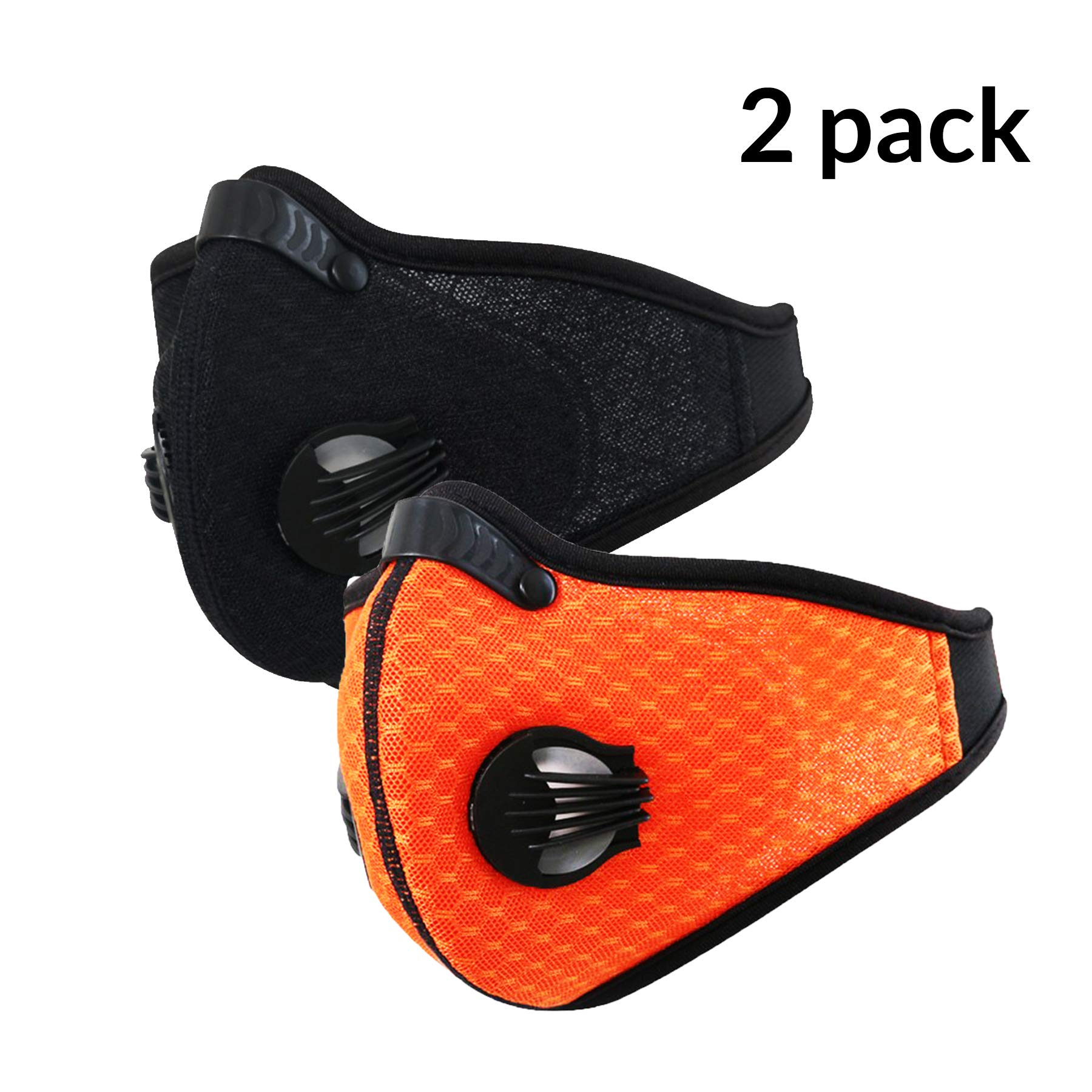 N95 Dust Mask Respirator, Dustproof Face Mask, 2 Pack Activate Carbon Anti Dust Pollution Pollen Allergy Filter Mouth Mask, Perfect for Woodworking Mowing Saw Dust Outdoor Work,Black Orange by dilib