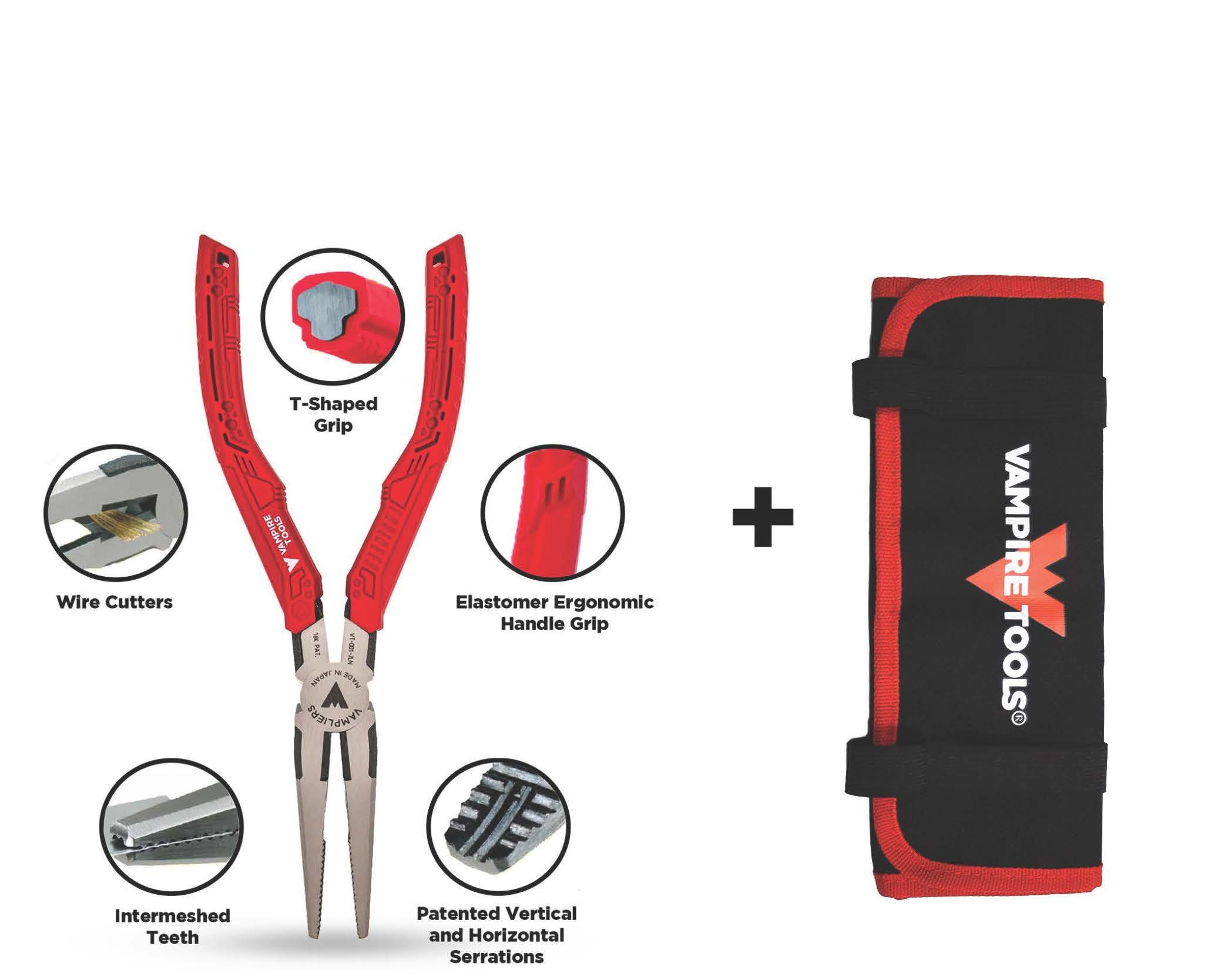 VAMPLIERS World's Best Pliers! Long Nose 7.5'' Specialty Screw Extraction Pliers + Free Vampire Tools Pouch Black Friday Cyber Monday Week Deal, Makes the Best Gift (Pliers W/FREE Pouch) by VAMPIRE PROFESSIONAL TOOLS