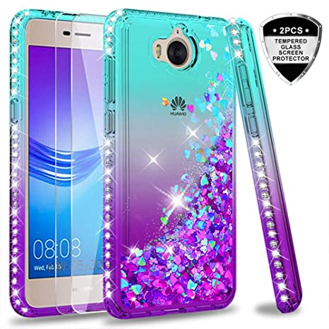 acquisto economico b636a 8e68b LeYi Case for Huawei Y6 2017 with Glass Screen Protector [2 pack], Glitter  Liquid Flow Clear Transparent Diamond Personalise TPU Silicone Shockproof  ...
