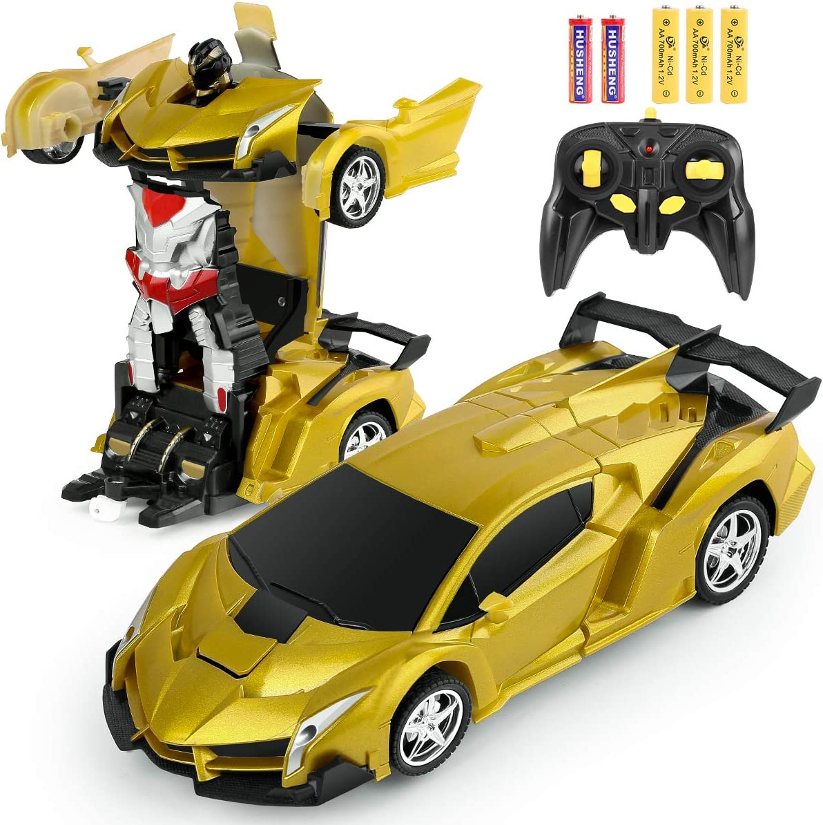 Image of a Yellow Bifyton Remote Control Car transforming into a robot with controller and batteries.
