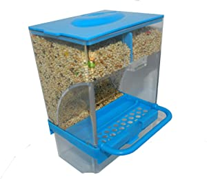 Petgroup No-Mess Bird Feeder Parrot Automatic Feeder Seed Pet Food Container Perch Cage Accessories for Budgerigar Canary Cockatiel Finch Parakeet (Blue)