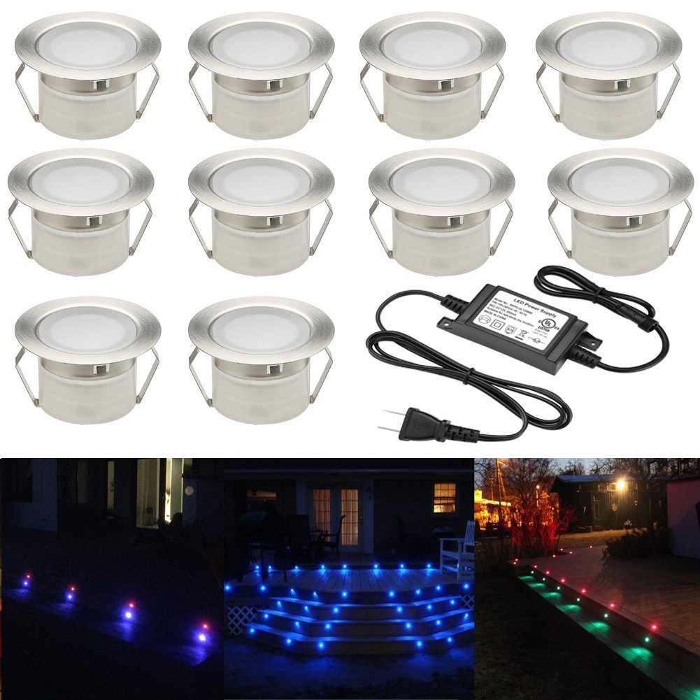 FVTLED Low Voltage 10pcs Multi-color RGB LED Deck Lights Kit 1-3/4'' Stainless Steel Recessed Wood Outdoor Yard Garden Decoration Lamp Patio Stairs Landscape Outdoor Step Lighting