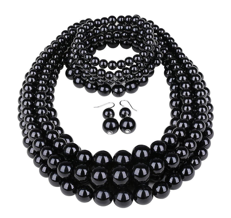 JOERICA Simulated Pearl Statement Jewelry Sets for Women Girls Multi Layer Bead Necklace Bracelet Earrings Set