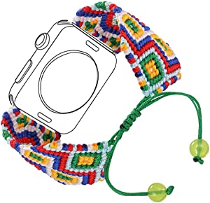 Bandmax Compatible Apple Watch Band Woven Nylon 42MM 44MM, iWatch Series 4/3/2/1 Handmade Weave Friendship Bracelet Ethnic Braided Bracelet mix Flexible Drawstring Clasp