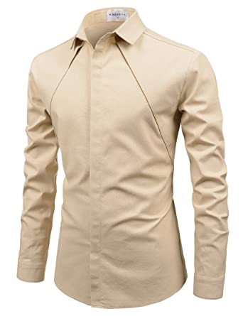 acfd7520abb Nearkin mens spread collar chest line hidden button fitted shirts beige jpg  342x445 Hidden shirts