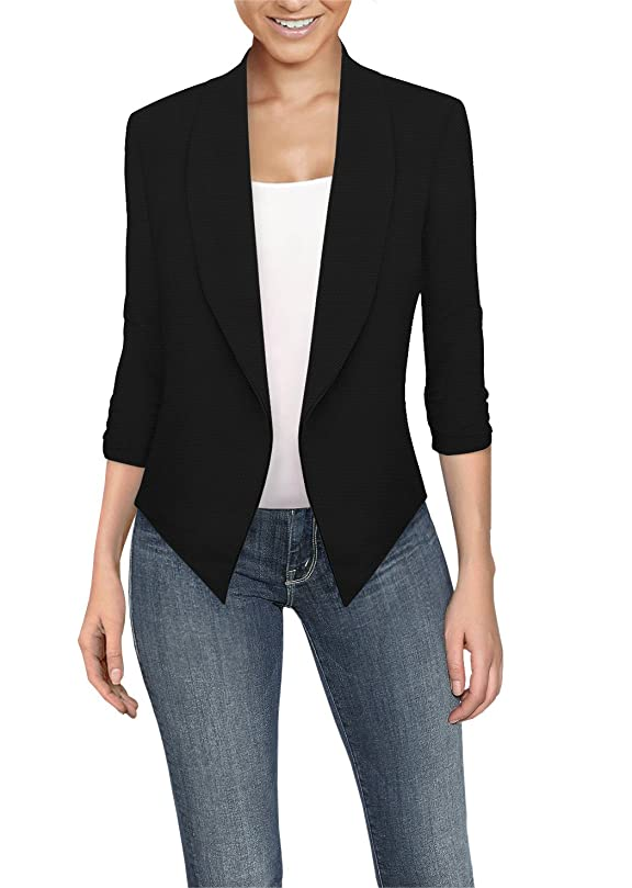 HyBrid & Company Womens Casual Work Office Open Front Blazer Jacket Made in USA