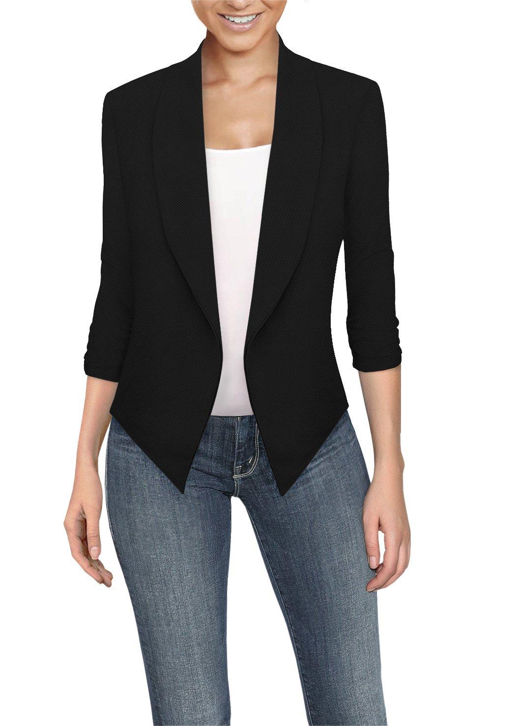 HyBrid & Company Womens Casual Work Office Open Front Blazer JK1133 E3500 Black M by HyBrid & Company (Image #1)