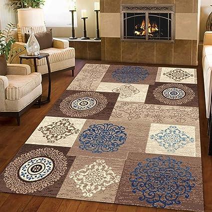 Ommda tappeti Salotto Soggiorno Moderni Home Stampa 3D tappeti Soggiorno  Pelo Corto Antiscivolo Lavabili Multicolore 140x200cm 9mm
