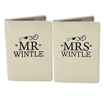 9750840ab Personalised Gift - Mr   Mrs Cream Leather Passport Holders (Set of 2)   Amazon.co.uk  Kitchen   Home