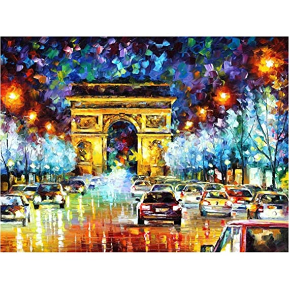 b14d9e448 Paint by Number Kit,AICOO DIY Oil Painting Drawing Famous Scenery Canvas Art  with Brushes
