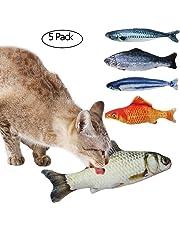 Tacobear Spielzeug mit Katzenminze 5 Stück Katze Interaktive Spielzeug Katze Fisch Spielzeug Plüsch Katze Kauen Spielzeug Set für Katze/Kitty/Kätzchen