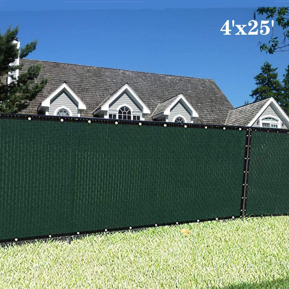 Sunnykud Fence Privacy Screen 4'x25' Heavy Duty Fencing Mesh Shade Net Cover for Outdoor Yard Garden - Dark Green