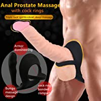 Prostate Massage Cock Ring and Anal Plug Combo Silicone Butt Plug Sex Products Anal Prostate Penis Rings Gay Adult Sex Toys for Men (Black)