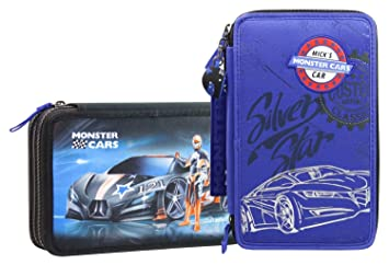 Depesch Monster Cars Pencil Case With Compartments Filled
