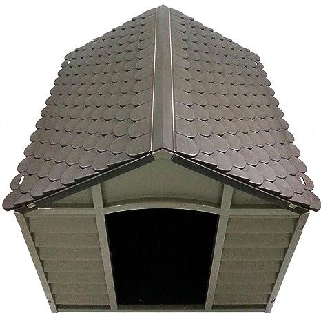 Caseta para perros de tamaño grande-medio, de resina PVC, tejado inclinado, para exterior, para jardín, desmontable, 78 x 84 x 80 cm, beis/marrón.