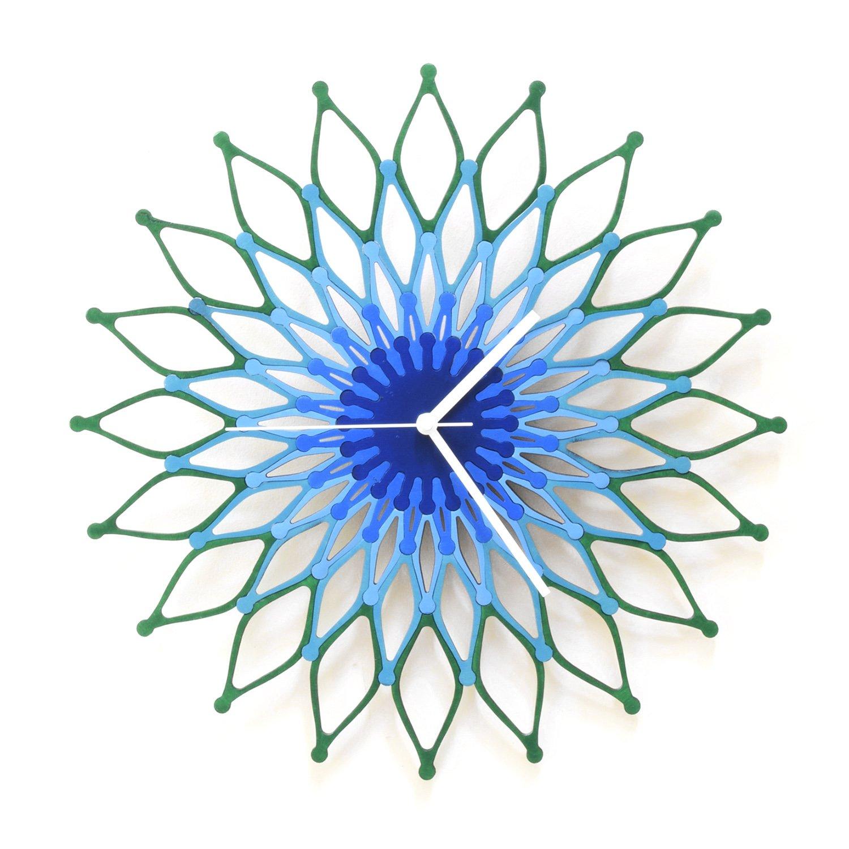 Peacock (ピーコック) - 41cm青と緑のスタイリッシュな木製の壁の時計 (L) Large  B01LZIIUR1