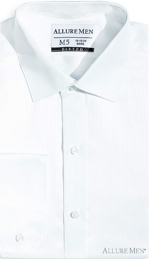 Allure Men de los hombres Equipada Spread-cuello camisa de vestido plisado suizo, collar Corre, Luxe microfibra