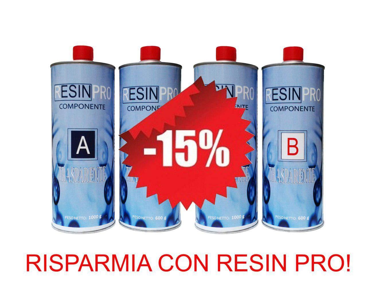 OFERTA ESPECIAL (1.6 KG + 1.6 KG) - SET - RESINA EPOXIA TRANSPARENTE / MULTIUSOS KG 3.2 Resin Pro QF-WDO4-YKP9