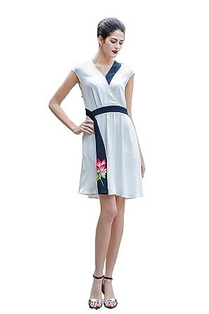 6e140b9f76 VOA Women s Short Cape Sleeve V-Neck White Silk Mini Dress with ...