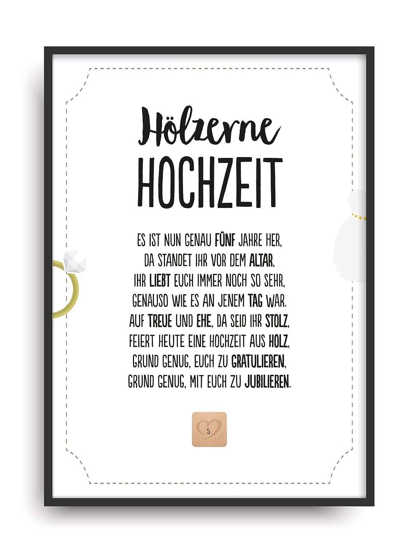 Geschenk Karte Hölzerne Hochzeit Kunstdruck 5 Hochzeitstag