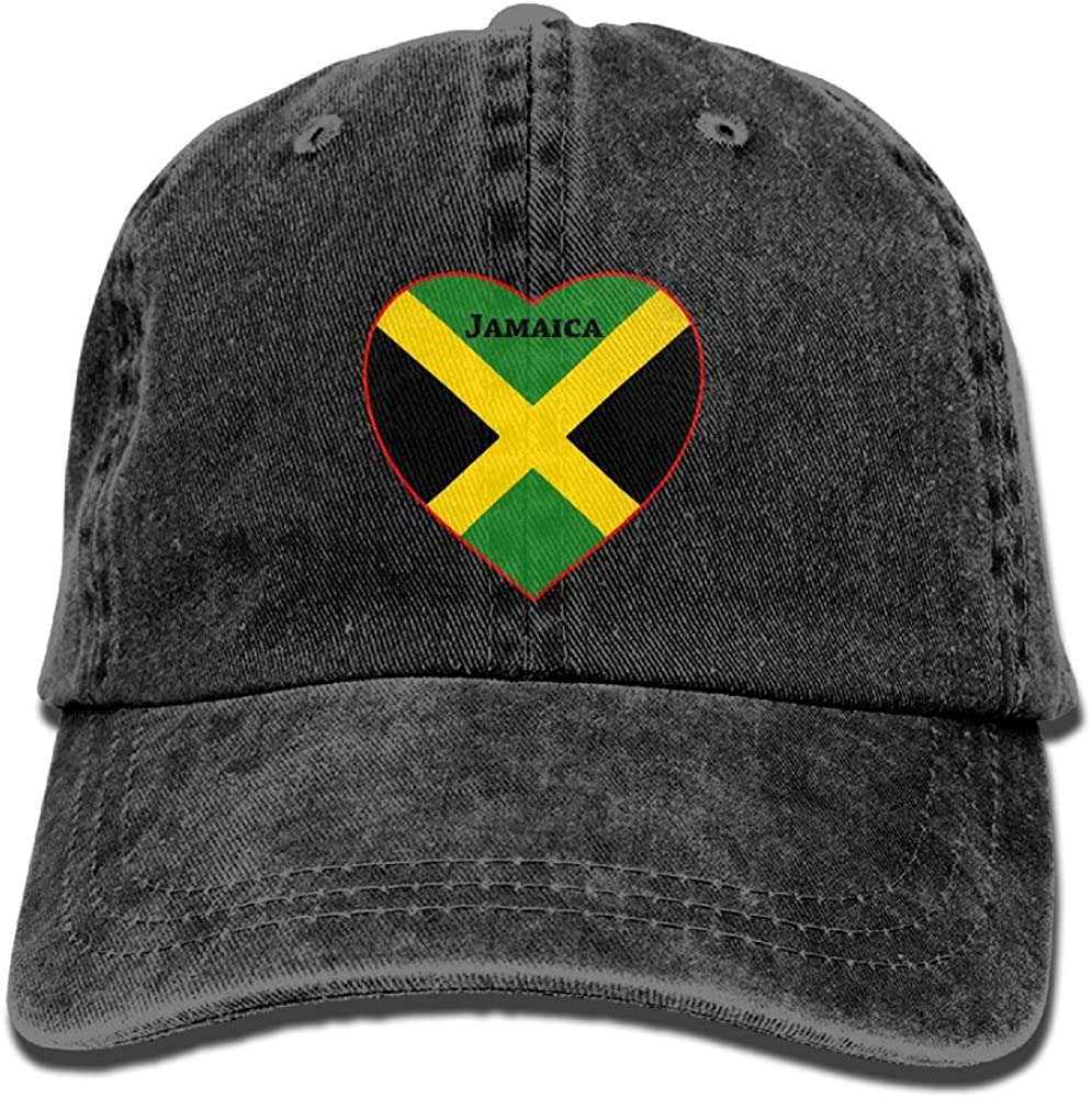 Jamaica Flag Heart Cool Washed Cap Adjustable Baseball Cap Dads Stetson Hat