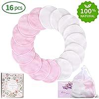 Waschbare Abschminkpads 16 Packungen,Makeup Entferner Pads Wiederverwendbar Bambus Baumwoll mit Wäschesack (Rosa und Weiß)