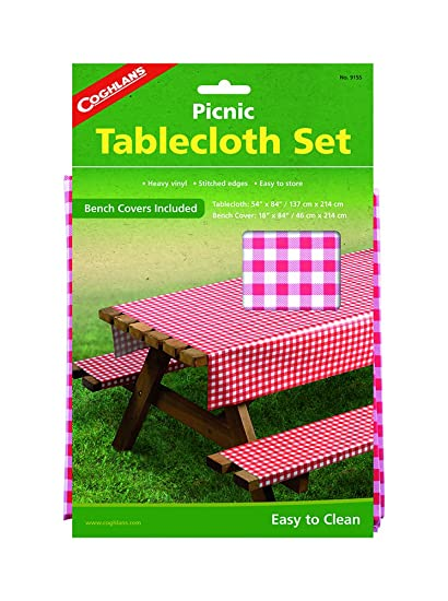 Amazon.com: Coghlan\'s Picnic Table Set with Tablecloth and Bench ...
