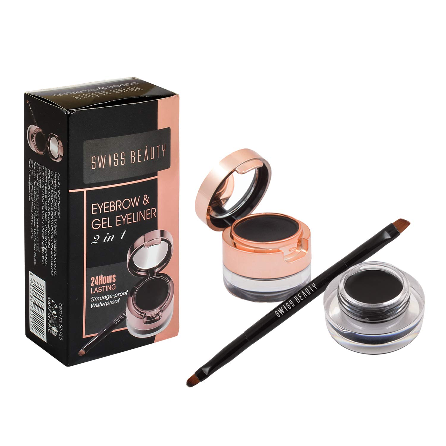 Swiss Beauty 2In1 Gel Eyeliner & Eyebrow Powder 24Hrs Smudge-Proof - Black product image