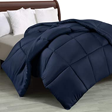 Utopia Bedding Comforter Duvet Insert - Quilted Comforter with Corner Tabs - Box Stitched Down Alternative Comforter (Queen, Navy)